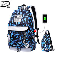 FengDong 2pcs school bags for boys USB charging backpack for teenagers backbag men travel bags male sling shoulder chest bag
