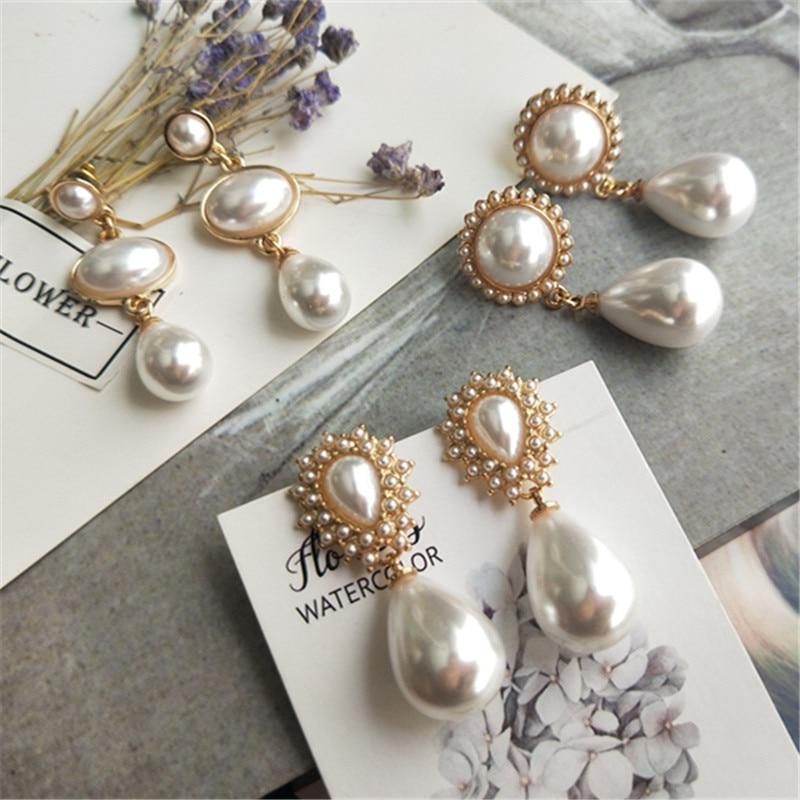 pearl vintage  earrings new elegant drop big temperament trendy korean earings fashion jewelry 2019