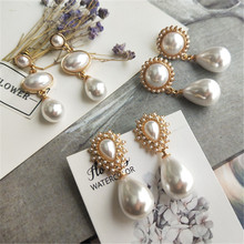 pearl vintage  earrings new elegant drop big temperament trendy korean earings fashion jewelry 2019
