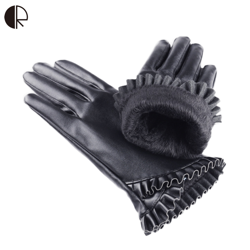 Women Winter Gloves Touch Screen Gloves Pu Gloves Soft Smartphone Wrist Gloves F