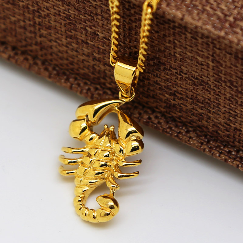 Men 24k gold plated scorpio charm pendant necklace and 3mm 24 inch men 24k gold plated scorpio charm pendant necklace and 3mm 24 inch cuban chain hiphop golden scorpion necklace high quality in pendant necklaces from mozeypictures Images