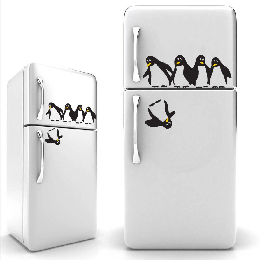 Funny Penguin Kitchen Fridge Sticker DIY Decals Dining Room Kitchen Decorative Wall Stickers Home refrigerator icebox decal J947