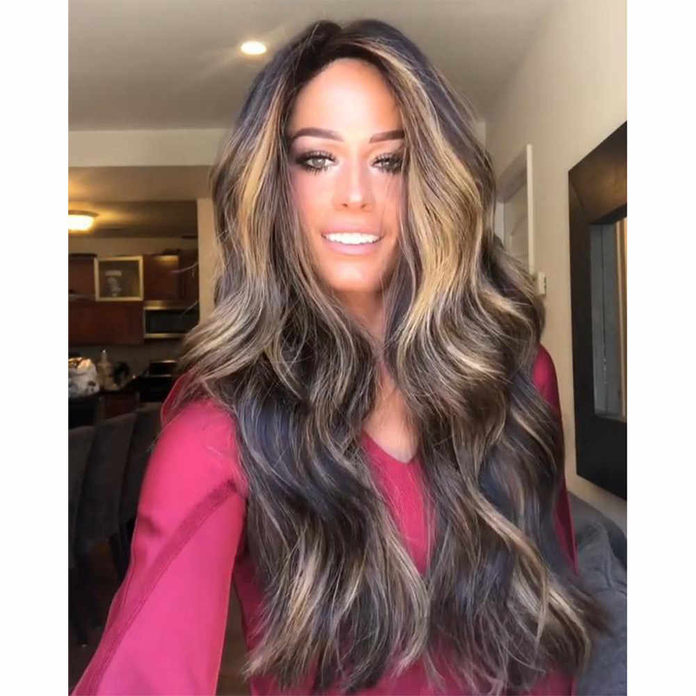 5b007482302 Naturally Gorgeous Women Girl Mix Color Long Curly Wig Synthetic Wig High  Density Full Lace Wigs for Women Gift Dropshipping