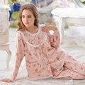 2017 New Women Floral Pink Nightdress Long Sleeve Princess 100% Cotton Female Pyjamas Pajamas Set Home services sets