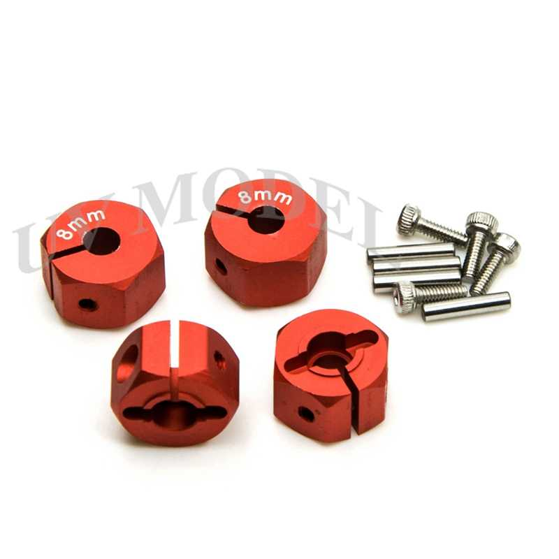 Cool rojo, de alta calidad, 12mm de aluminio hexagonal de cubo de rueda de 8mm de espesor montaje y pines Universal RC coche accesorios