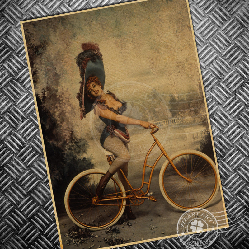 Hd Sexy Lady Vintage Poster Old Bicycle Print Picture Retro Wall Art