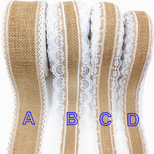 ФОТО good quality 5cm 6cm jute burlap ribbon 5 yards/lot cotton lace trim webbing for diy wedding gift decoration garment sewing