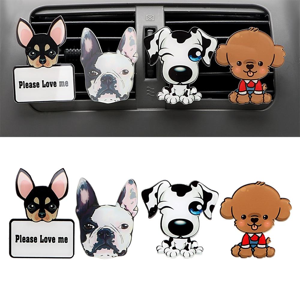 Tomada de carro perfume bonito filhote cachorro automóveis ambientador carro ornamento sólida fragrância ar condicionado tomada clipe decoração do carro