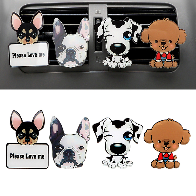 Auto Outlet Parfum Schattige Puppy Hond Automobiles Luchtverfrisser Auto Ornament Effen Geur Airconditioner Outlet Clip Auto Decor