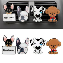 Car Outlet Perfume Cute Puppy Dog Automobiles Air Freshener Car Ornament Solid Fragrance Air Conditioner Outlet Clip Auto Decor(China)