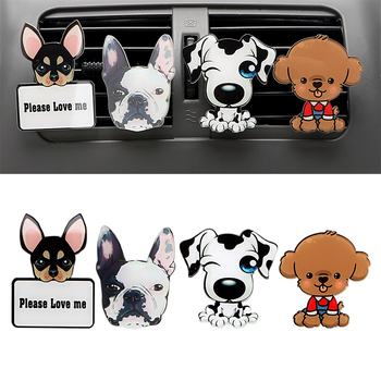 Car Outlet Perfume Cute Puppy Dog Automobiles Air Freshener Car Ornament Solid Fragrance Air Conditioner Outlet Clip Auto Decor lovers car air freshener perfume air conditioner outlet perfume clip bulldog auto air freshener car interior accessories