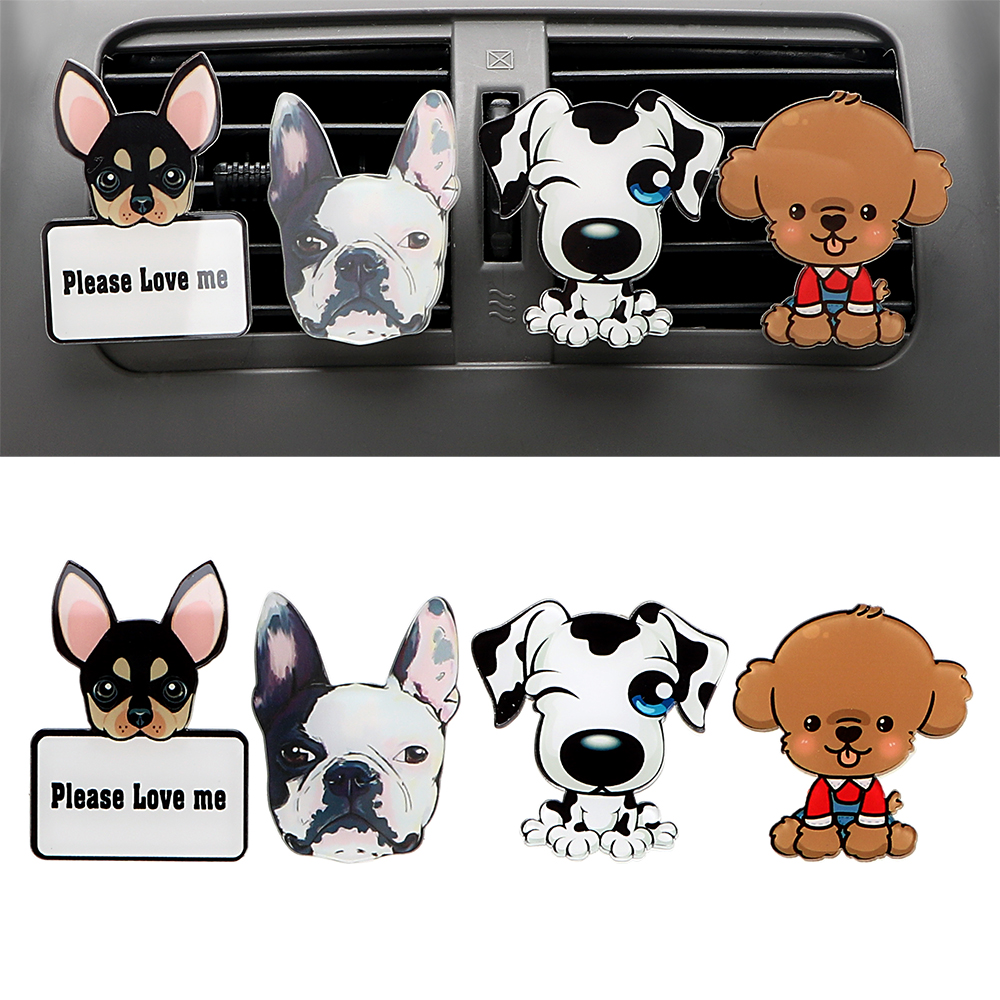 Car Outlet Perfume Cute Puppy Dog Automobiles Air Freshener Ornament Solid Fragrance Air Conditioner Outlet Clip Auto Decor