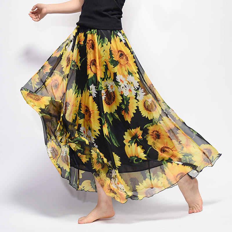 0943af5a37 Spring Bohemian Skirt Womens Floral Retro Pleated Chiffon Beach Skirt  Faldas Elastic Waist Boho Maxi Long