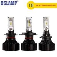 Oslamp New T8 H4 H7 H11 9005 9006 Car LED Đèn Pha bóng đèn ZES Chip 60 Wát 8000lm 6500 k Tự Động Đèn Sương Mù Nhẹ 12 V 24 V