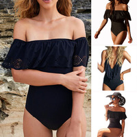 2017 Black Lace Flounce Off Shoulder Swimsuit Women Sexy Bodysuit Monokini Swimwear Ruffle One Piece Swimsuit