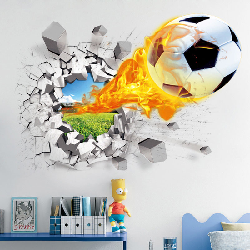 3D Football broken wall sticker for kids room living room sports decoration mural wall s ...