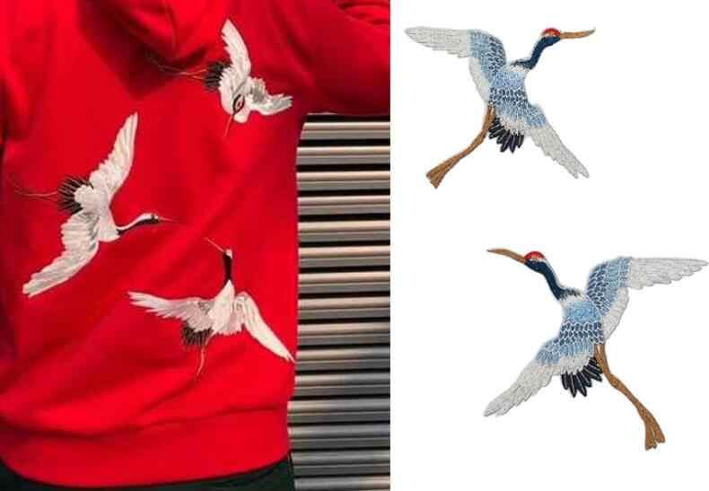 Duży ptak karpia łatka szyć na żelazko na materiały do szycia naklejki ubrania aplikacja haft poprawki na ubrania ubrania dekoracji