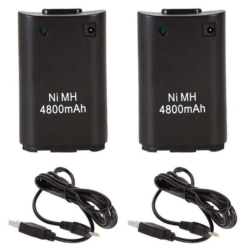 2x 4800mAh Battery Pack +Charger Cable for Xbox 360 Wireless Game Controller Gamepads Battery Pack Xbox 360 Bateria Replacement