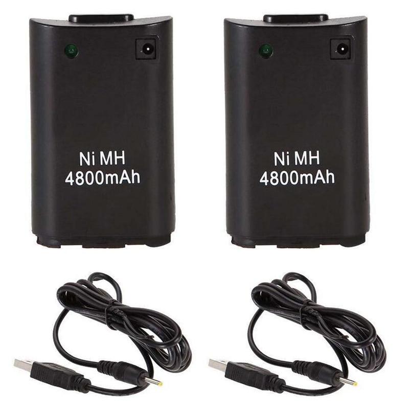 2x4800 mAh Akku + Ladegerät Kabel für Xbox 360 Wireless Game Controller Gamepads Akku Xbox 360 Bateria Ersatz