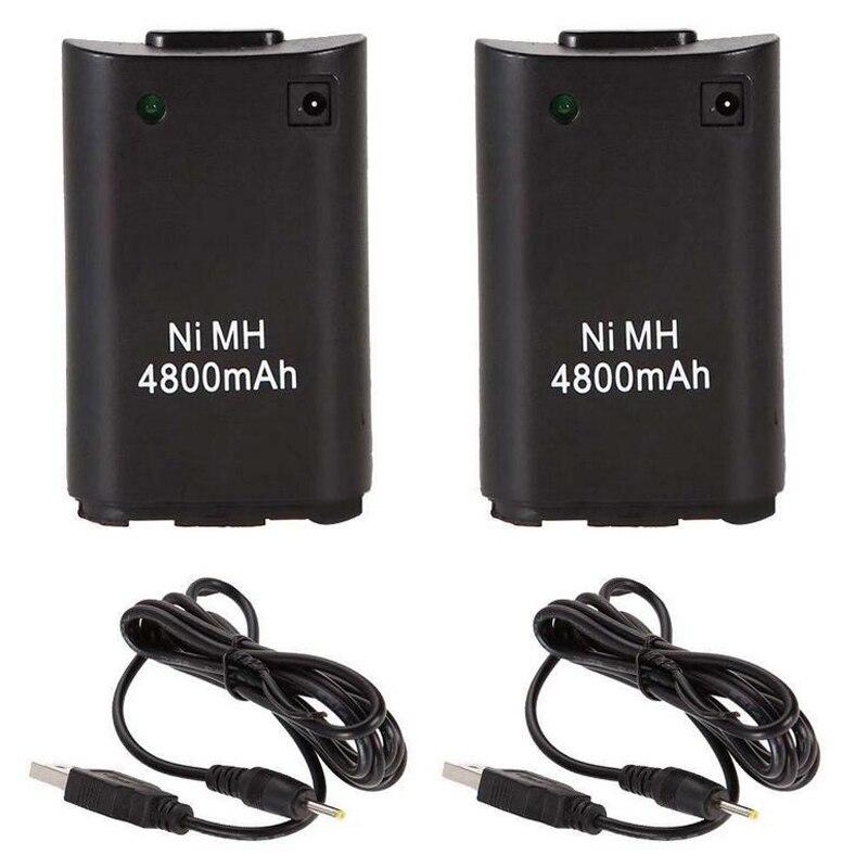 2x4800 mAh Battery Pack + Carregador de Bateria Cabo para Xbox 360 Controlador de Jogo Sem Fio Gamepads Xbox 360 Bateria de Substituição