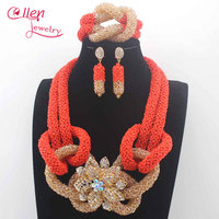 New Coral Orange Burgundy Wedding Party Beads African Jewelry Set Gold Nigerian Wedding Gallery Jewelry Set Free Shipping N0101