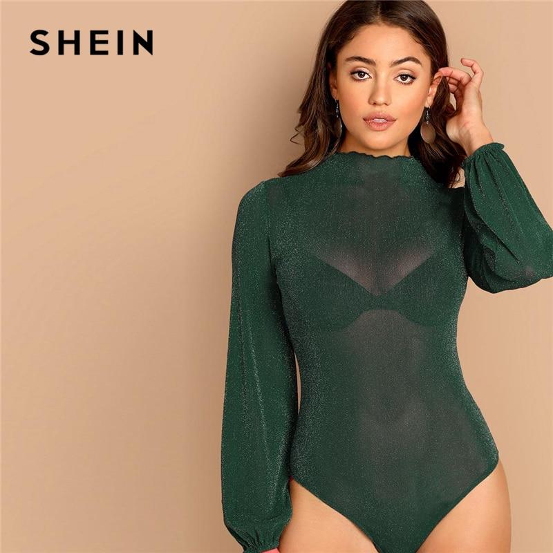 SHEIN Green Mock-neck Glitter Sheer Bishop Long Sleeve Skinny Bodysuit Women Slim Fit Sexy Spring Solid Night Out Bodysuits