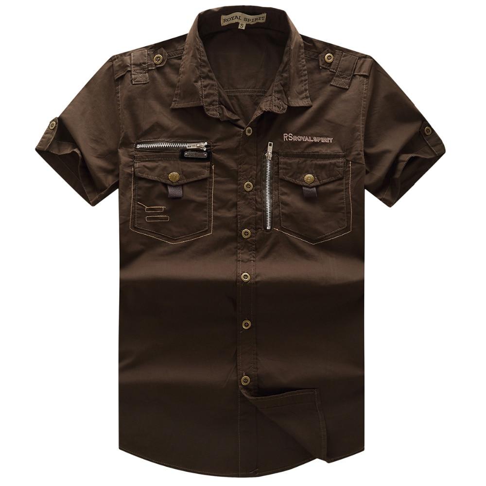 Men 39 s shirt 2016 new men cargo shirt fashion casual short for Best mens dress shirts 2016
