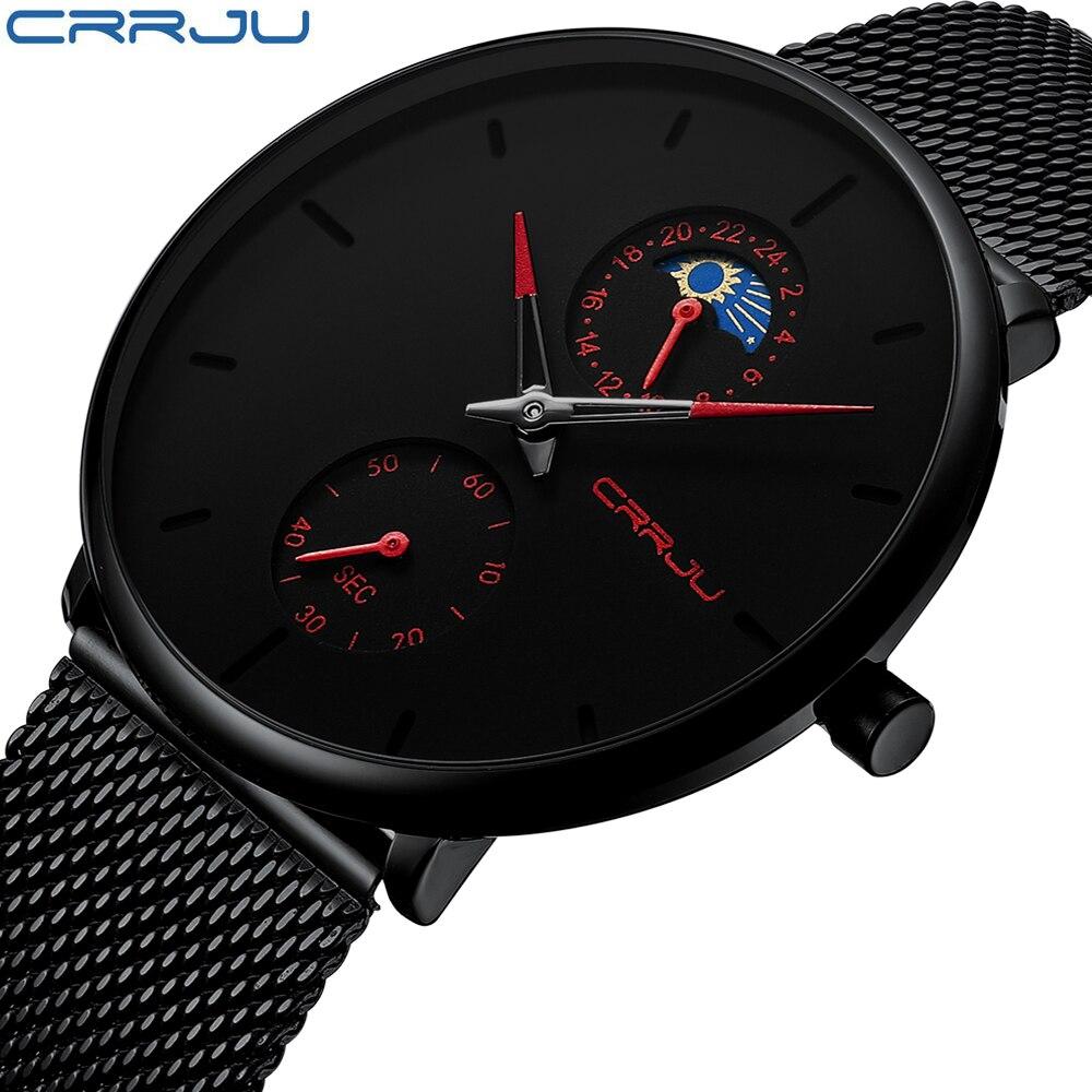 Relogio Masculino CRRJU Fashion Mens Watches Top Brand Luxury Quartz Watch Men Casual Slim Mesh Steel Waterproof Sport Watch