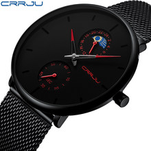 Relogio Masculino CRRJU Fashion Mens Watches Top Brand Luxury Quartz Watch Men Casual Slim Mesh Steel Waterproof Sport Watch(China)