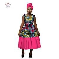 2017 African Sleeveless Dress For Women African Wax Dress O Neck Callar Private Custom Apparel African