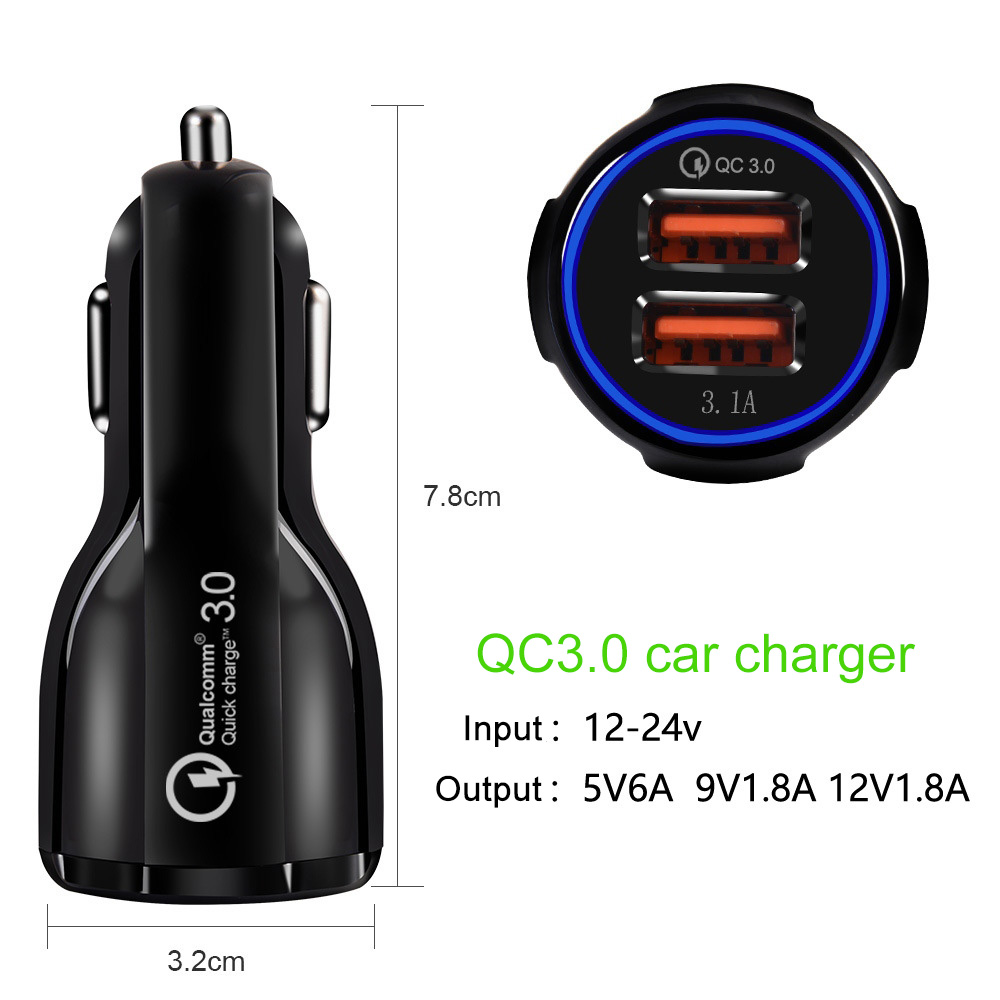 Mini Dual USB Car Charger 3 0 Quick Charge Automatic Power Off Protection With Type Data Line For Smart Phone LCD Display in Cables Adapters Sockets from Automobiles Motorcycles