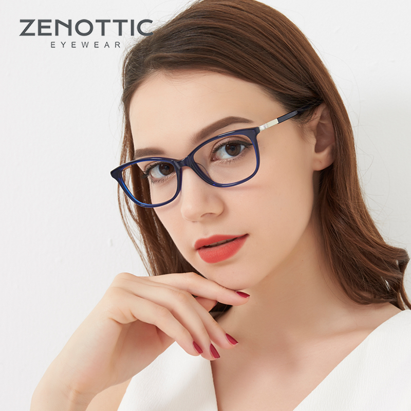 ZENOTTIC Acetate Glasses Frame Women Fashion Eyeglasses Optical Lenses Computer Glasses Prescription Spectacle Eyewear BT3007