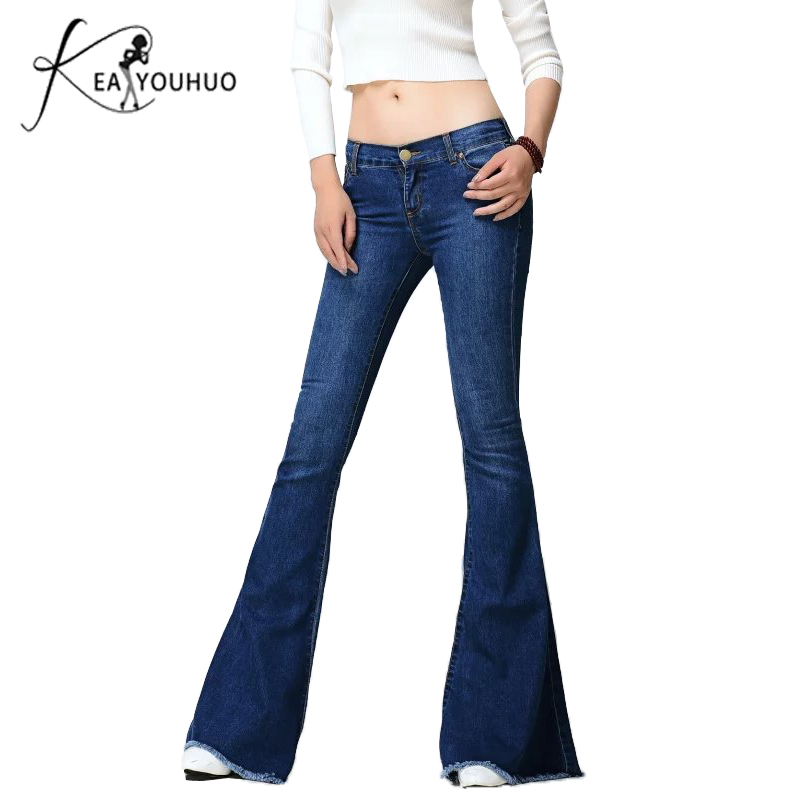 2018 Ladies Black Low Waist Flare   Jeans   Boyfriend   Jeans   For Women Denim Skinny   Jeans   Woman Female Wide Leg Pants Plus Size 5XL