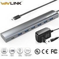 High Speed 7 ports USB hub with 5V/6A power adapter USB C Hub Aluminum USB 3.1 Type C Splitter WAVLINK USB 3.0 HUB for MacBook