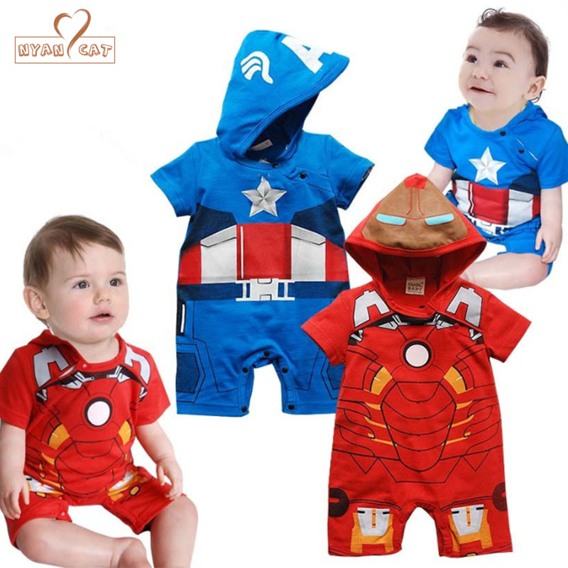 Nyan Cat Baby superhero clothes short sleeve iron man Captain American   rompers   infant toddler summer party The Avengers costume