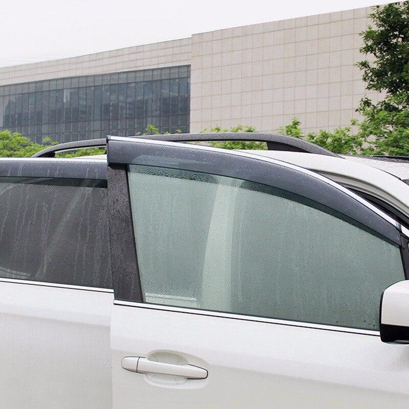 For Subaru Forester 2013 2014 2015 2016 2017 2018 Plastic Window Visor Rain Sun Shield Guard Deflector Trim 4pcs Car Styling for nissan qashqai dualis 2008 2013 window visor rain sun shield guard protector