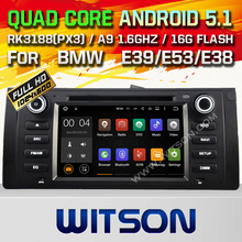 WITSON Android 5.1 CAR DVD GPS Capacitive touch screen for BMW E39 Cortex A9 dual-core 1.6G, 16GB Rom+ Free Shipping  Free map