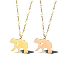 Gold Momma Bear Necklace Pendant Mama Jewelry Christmas Mothers Day gift New Mother Jewellery In Stainless Steel
