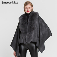 Новый дизайн, женские 100% настоящие кашемировые пончо, модные стильные зимние меховые накидки с воротником из натурального Лисьего меха S7357