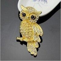 Vendita vintage oro argento animale hibou buho coruja owl brooch di pin/Coreano di lusso monili delle donne accessori all'ingrosso/spille
