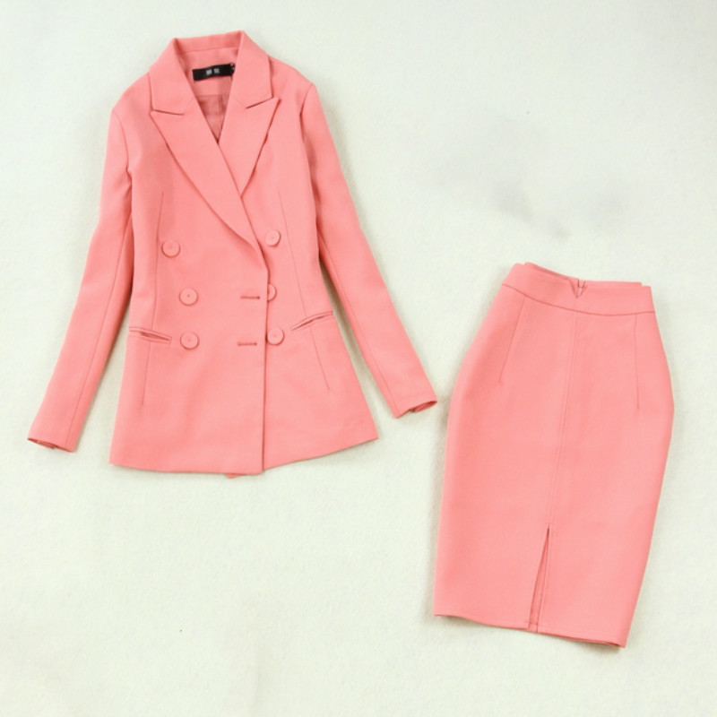 Women's Suits 2019 Autumn New Women's Large Size Double-breasted Pink Suit Jacket Bag Hip Split Half-length Skirt Two-piece