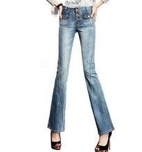 Спикер джинсы женский тонкий 2016 новое прибытие кнопки высокой талии загрузки вырезать джинсы женские. q0933