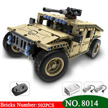AIBOULLY 8014 502pcs Technic Military Remote Control RC Armed Hummer Car Building Block Brick Toys For Children(China)