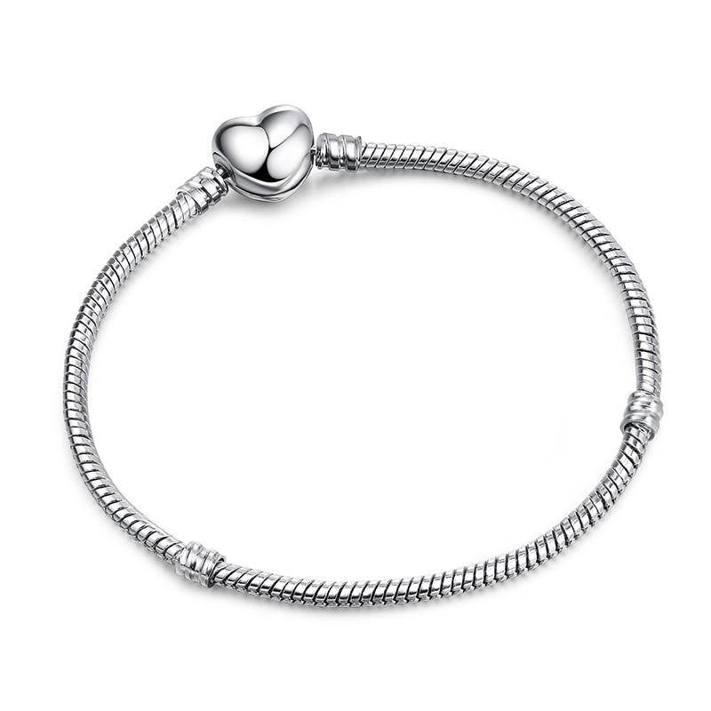Новинка, браслет с подвеской из розового золота с Микки-Маусом, цепочка со змеей, подходит для Pan, базовые браслеты для модных женщин, бусины, сделай сам, ювелирное изделие - Окраска металла: NSL090LOVE
