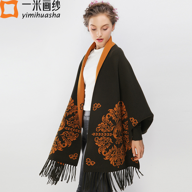 1eb41cecb7079 women winter scarf floral embroidery crochet ponchos and capes oversized  warm tassels scarves blanket sweater shawls pashmina
