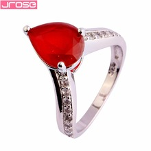 JROSE Pear Cut Pink Tourmaline Cubic Zircon Silver Wedding Engagement Simple Ring Size 6 7 8 9 10 Gorgeous Jewelry For Women caimao 1 98ct natural emerald cut pink tourmaline si g h round diamond engagement ring