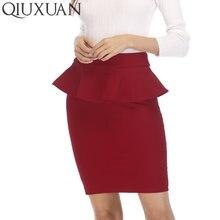 QIUXUAN Autumn Women Skirt OL Lotus Leaf Slim Stretch High Waist Pack Hip  Skirt Fashion Womens Pencil Skirts Multi Color Plus 80a35e3b5879