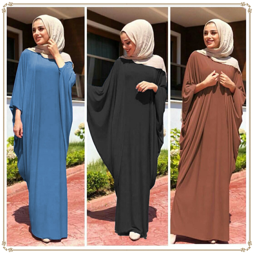 Muslim Dress Casual Loose Bat Sleeve Middle Eastern Robe Dress Islamic Clothing Dubai Abaya 126