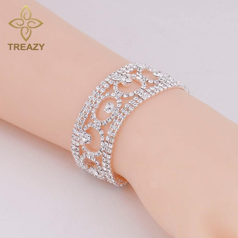 TREAZY font b Luxury b font Crystal Bracelets Bangles for Women Silver Plated Rhinestone Fashion Geometric
