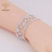TREAZY Luxury Crystal Bracelets & Bangles for Women Silver Plated Rhinestone Fashion Geometric Bracelets Bridal Wedding Jewelry